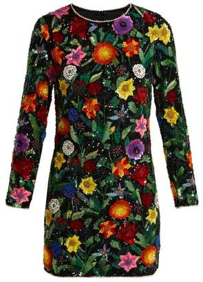 Ashish Magic Flower Embellished Silk Georgette Mini Dress - Womens - Black Multi