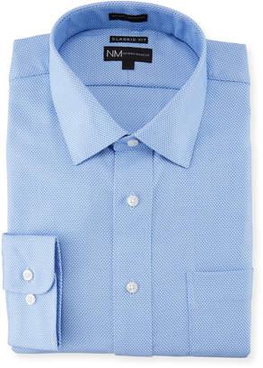 Neiman Marcus Classic-Fit Regular-Finish Dobby Dress Shirt, Blue