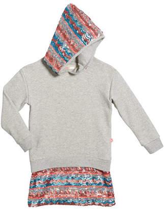 Billieblush Girl's Long-Sleeve Hooded Sequin Trim Dress, Size 4-12