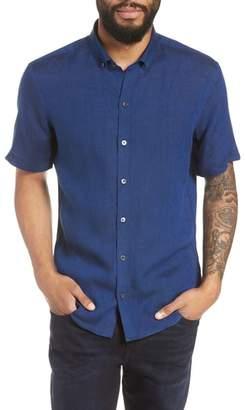 Zachary Prell Shapiro Trim Fit Linen Popover Sport Shirt