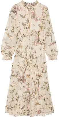 Zimmermann - Maples Frill Ruffled Printed Crinkled Silk-georgette Midi Dress - Off-white $1,150 thestylecure.com