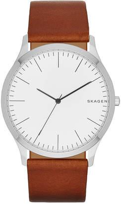 Skagen Men's Light Brown Leather Strap Watch 41mm SKW6331