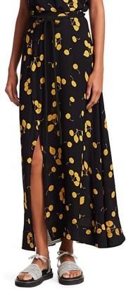 3.1 Phillip Lim Cherry Print Tie-Waist Side Slit Maxi Skirt