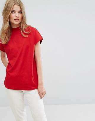 Weekday High Neck T-shirt in Organic Cotton