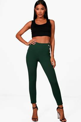 boohoo Military Button Detail Skinny Trouser
