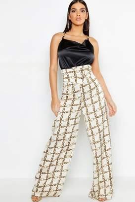 boohoo Chain Print Satin Cut Out Wide Leg Trouser