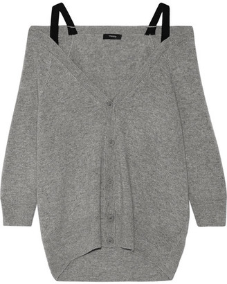 Theory - Saline B Off-the-shoulder Cashmere Cardigan - Gray $395 thestylecure.com