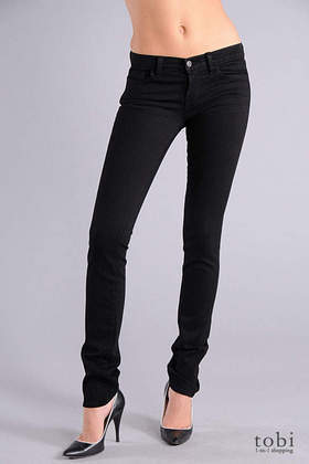 "J Brand 12"" Lowrise Pencil Leg Jeans - 942 in Jett Black"