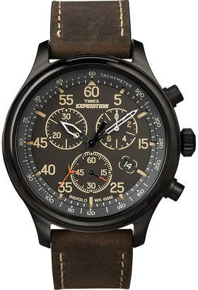 Timex Expedition Mens Brown Leather Strap Chronograph Watch T499059J