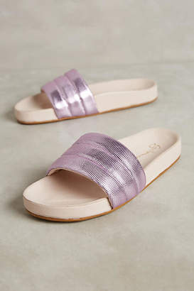 Guilhermina Purple Metallic Pool Slides $108 thestylecure.com