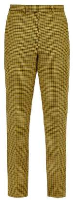 Raf Simons Slim Leg Houndstooth Wool Trousers - Mens - Yellow