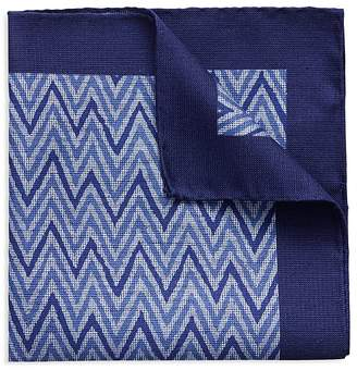 Eton Bordered Chevron Pocket Square