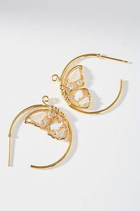 Anthropologie Butterfly Hoop Earrings
