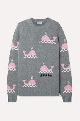 Prada Intarsia Wool And Cashmere-blend Sweater - Gray