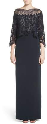 Monique Lhuillier Column Gown with Integrated Lace Capelet