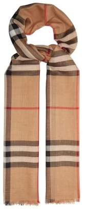 Burberry House Check Wool And Silk Blend Scarf - Womens - Camel