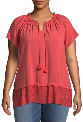 ST. JOHN'S BAY Short Sleeve Split Neck Peplum Blouse - Plus