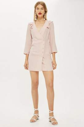 Topshop Button Wrap Mini Dress