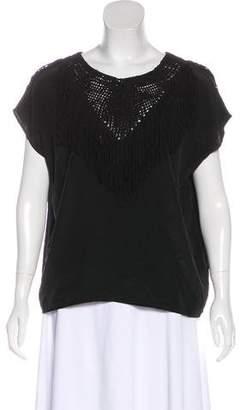 Ulla Johnson Silk Knit-Accented Short Sleeve Top
