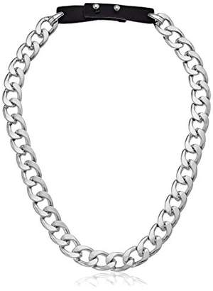 Steve Madden Curb Chain Leather Strap Necklace