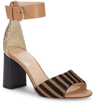 Frances Valentine Chunky Heel Pony Hair Sandals