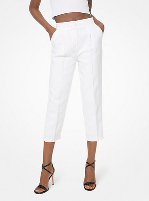 Michael Kors Washed Linen Cropped Trousers