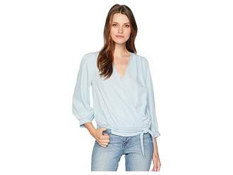 Vince Camuto Long Sleeve Side Tie Faux Wrap Front Blouse