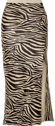 Anine Bing Dolly Zebra-print Silk-satin Midi Skirt - Black
