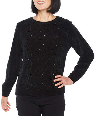 Alfred Dunner Classics Long Sleeve Crew Neck Pullover Sweater