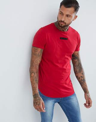 Religion muscle fit t-shirt with curved hem in washed red