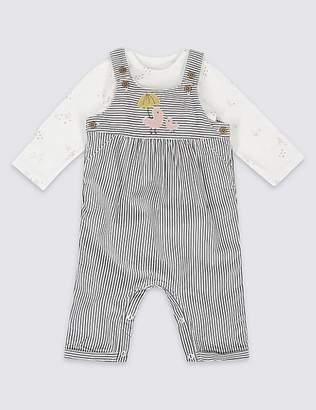 Marks and Spencer 2 Piece Cord Applique Dungaree and Bodysuit