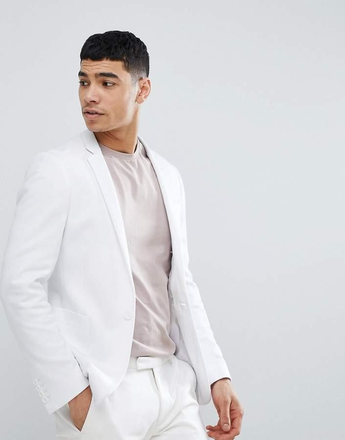 DESIGN – Superenger Blazer aus weißem Jersey