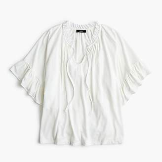 J.Crew Ruffle-trimmed tie-neck T-shirt