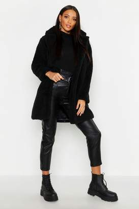 boohoo Collared Faux Fur Teddy Coat