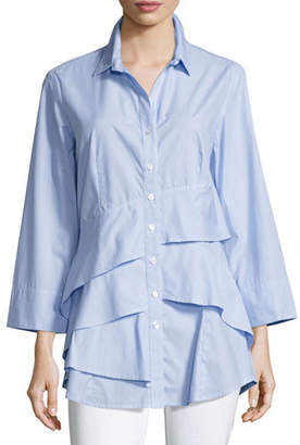 Finley Jenna Striped Chambray Tiered-Ruffle Blouse, Plus Size