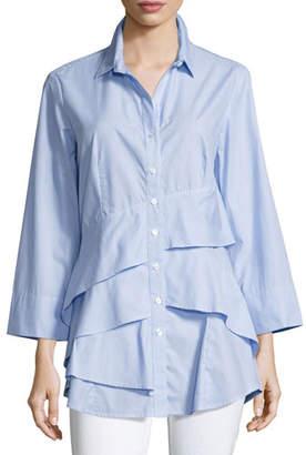 Finley Plus Size Jenna Striped Chambray Tiered-Ruffle Blouse