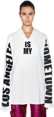 Faith Connexion Oversize La Print Hooded Jersey T-Shirt