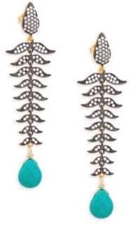 Azaara Crystal and Yellwo Goldtone Drop Earrings