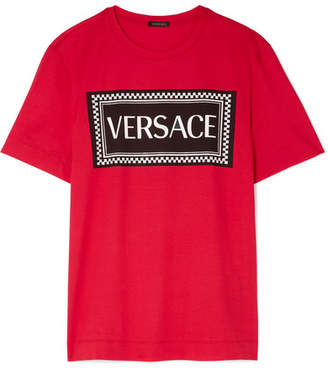 Versace Printed Cotton-jersey T-shirt - Red