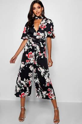 boohoo Floral Choker Style Culotte Jumpsuit