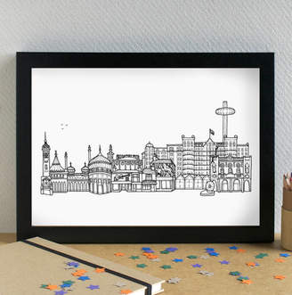Becka Griffin Illustration Brighton Landmarks Skyline Art Print Unframed