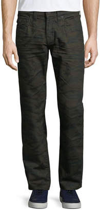 True Religion Men's Geno Cosmic Camo Straight-Leg Jeans with Flap Pockets