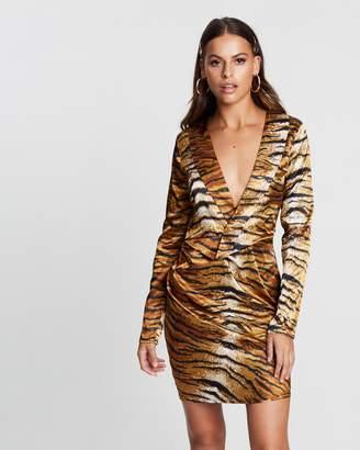 Missguided Satin Tiger Print Long Sleeve Mini Dress