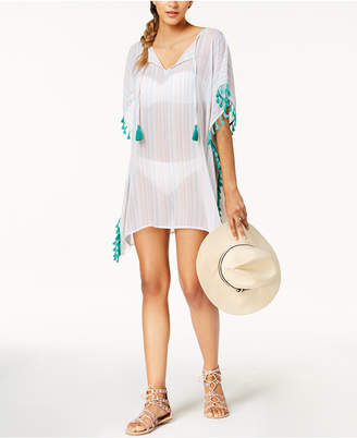 Miken Juniors' Printed Tasseled Poncho Cover-Up, Created for Macy's Women's Swimsuit