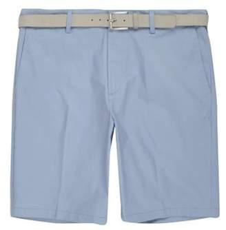 River Island Light blue belt detail slim fit shorts