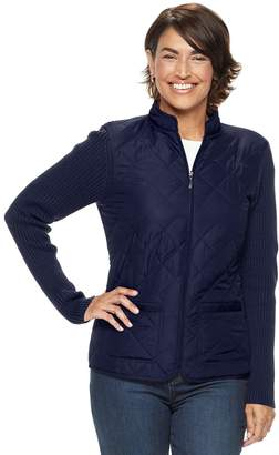 Croft & Barrow Petite Zip-Up Quilted Sweater Jacket