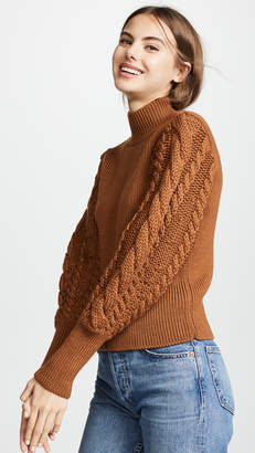 Caroline Constas Rib and Cable Turtleneck