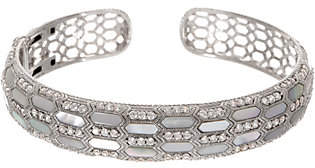 Judith Ripka Sterling Silver Mother of Pearl &Diamonique Cuff