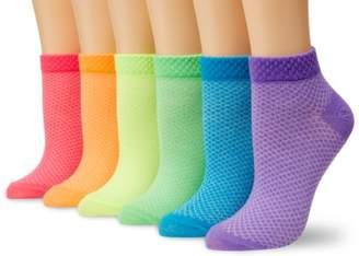 K. Bell Women's 6 Pack Fashion No Show Liner Socks, Neon Pique, 9-11