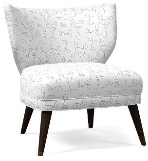 west elm Retro Wing Chair - Simple Faces Print
